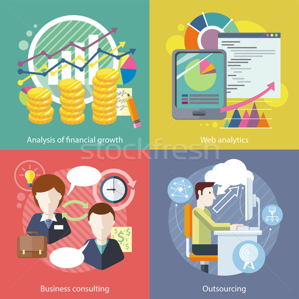 Outsourcing, Web Analytics. Analysis Financial Growth Stock photo © robuart