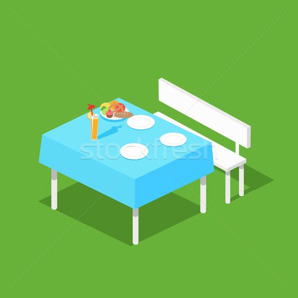 Picnic Isometric Table with Dishes Stock photo © robuart