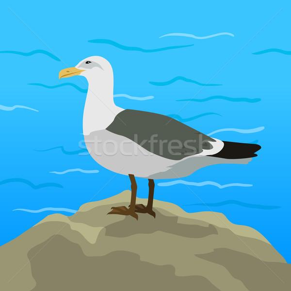 Gull Flat Design Vector Illustration Stock photo © robuart