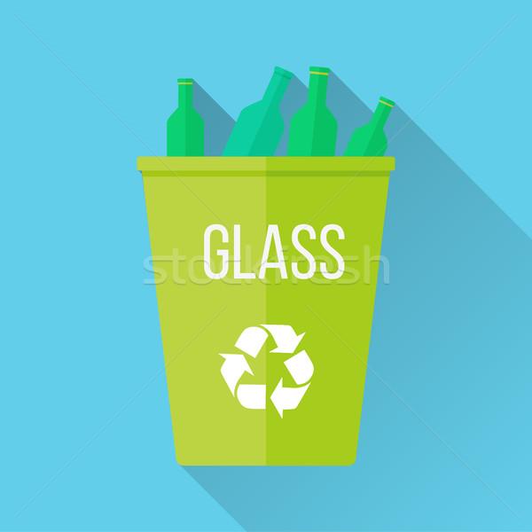 Groene recycleren vuilnis glas symbool Stockfoto © robuart