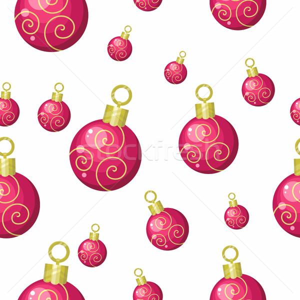 Сток-фото: рождественская · елка · игрушками · вектора · Рождества · красный