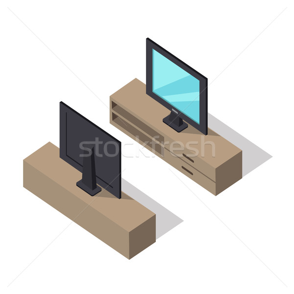 TV Set Vector Illustration in Isometric Projection Stock photo © robuart