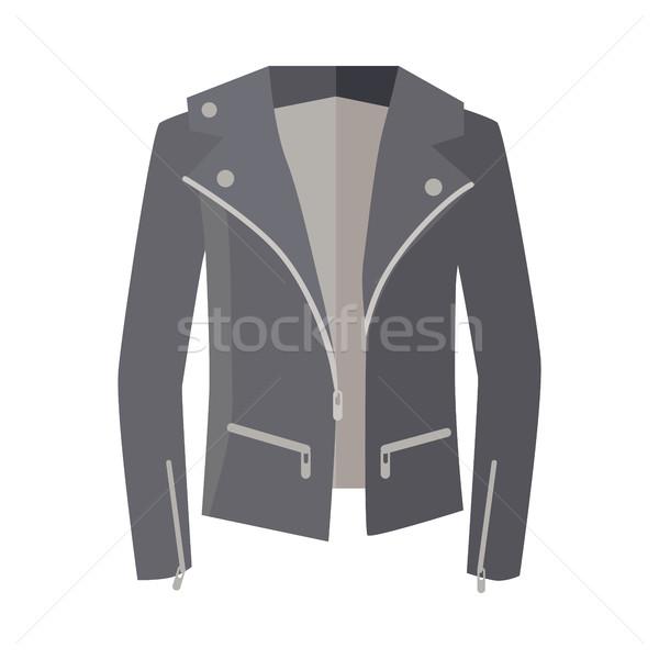 Jacket on Zipper Isolated on White. Unisex. Vector Stock photo © robuart