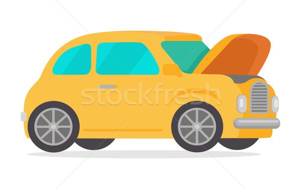Geel vintage retro auto geïsoleerd witte Stockfoto © robuart