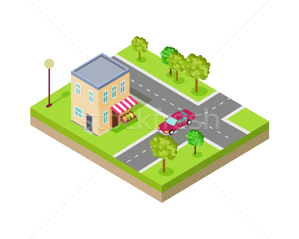 Isometric Icon of Two Storey Grocery Shop Stock photo © robuart