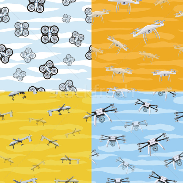 Seamless Pattern Drone Icon Flying in Sky. Vector Stock photo © robuart
