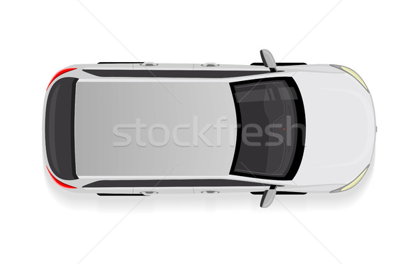 White Car from Top View Vector Illustration. Stock photo © robuart