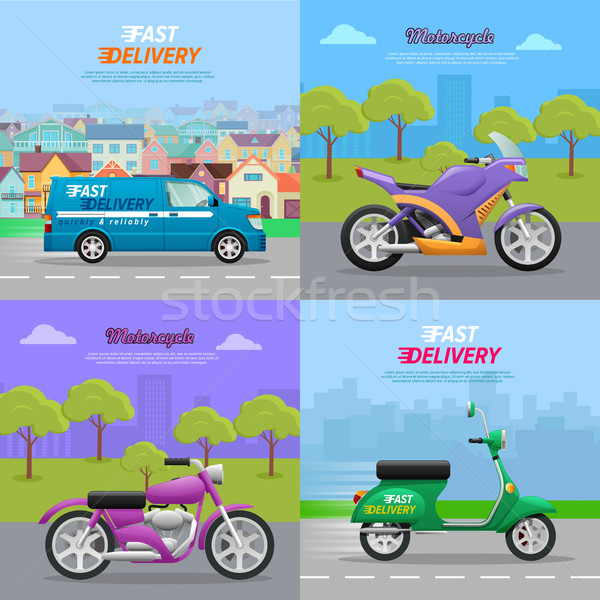 Set of Vehicle Icons. Fast Delivery. Motorcycle Stock photo © robuart