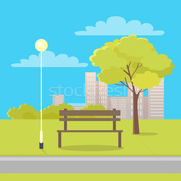 Pad város park napos idő fából készült utca Stock fotó © robuart