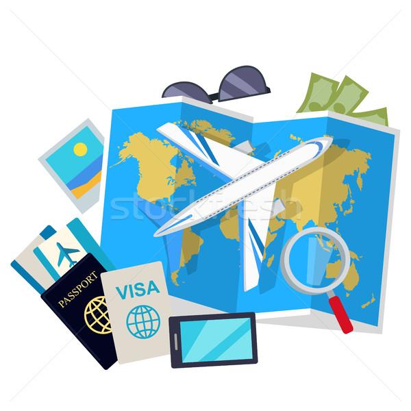 Viajar estilo vetor teia bandeira aeronave Foto stock © robuart