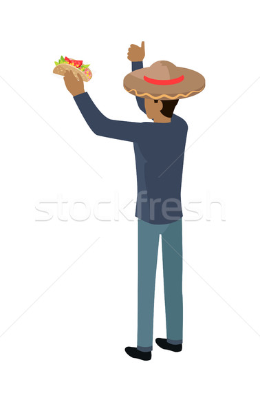 Shop Seller in Big Sombrero Hat Isolated with Food Stock photo © robuart