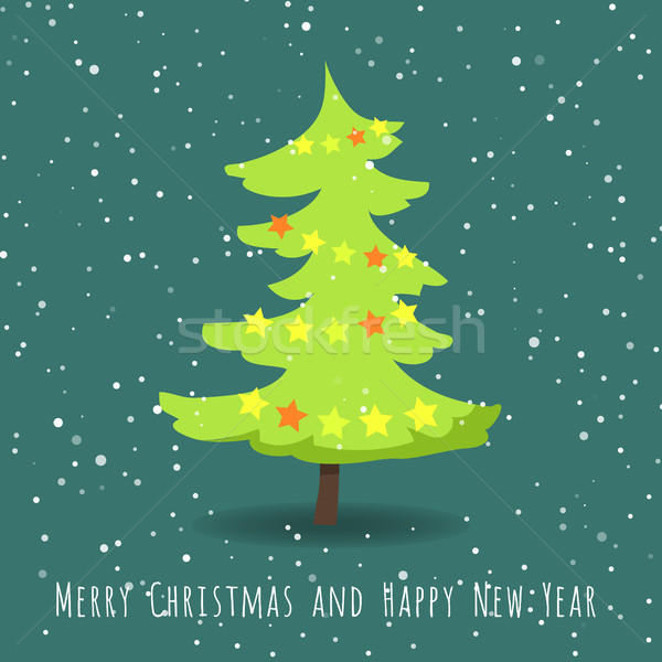Merry Christmas and Happy New Year. Fir Tree Stock photo © robuart