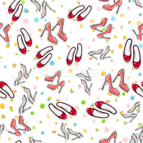 Seamless Pattern of Shoes. Fashionable Footwear. Stock photo © robuart