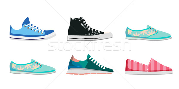 Comfortabel schoenen dag illustraties collectie geïsoleerd Stockfoto © robuart