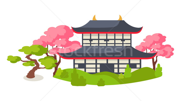 Japanese Pagoda In Cherry Blossom Flat Vector Stock photo © robuart
