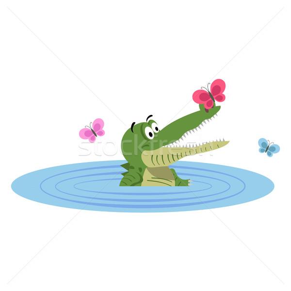 Desenho animado crocodilo natação lago borboleta nariz Foto stock © robuart