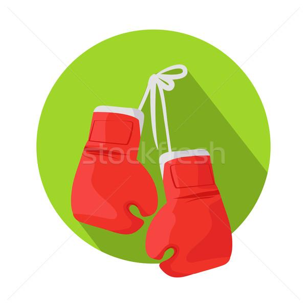 Doboz vektor ikon klasszikus piros boxkesztyűk box Stock fotó © robuart