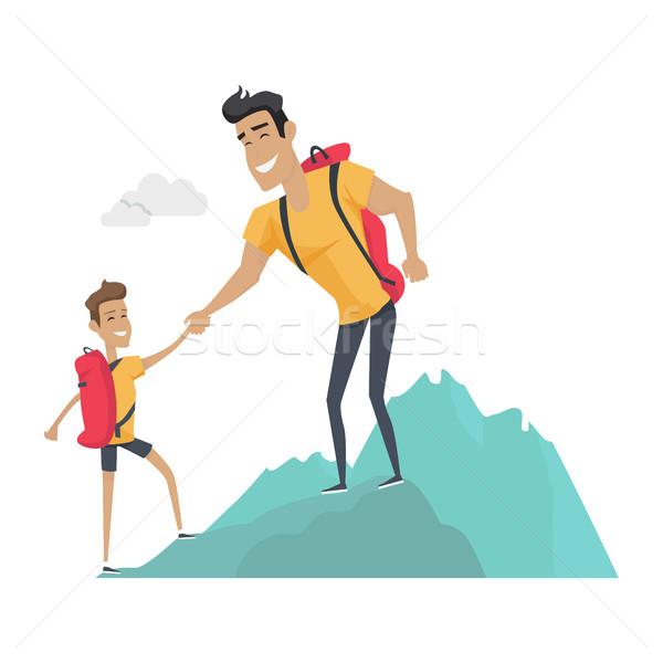 Apuci fiú kempingezés sport tevékenységek hegyek Stock fotó © robuart