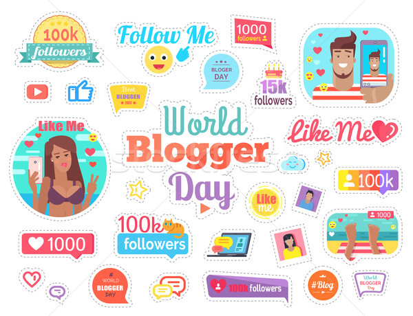 World Blogger Day with 100 Followers on White Stock photo © robuart
