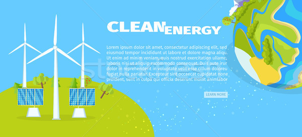 Clean Energy with Solar Panels and Planet Poster Stock photo © robuart