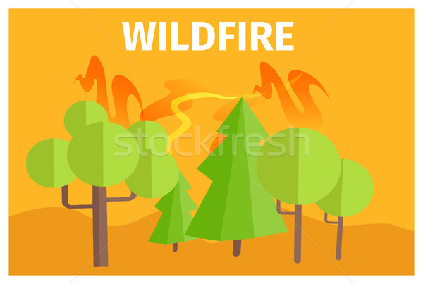 野火 警告 生態学 漫画 ポスター 緑 ストックフォト © robuart