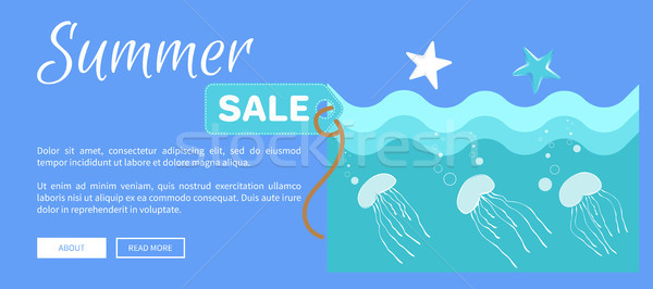 Summer Sale Poster Abstract Cartoon Jellyfishes Stock photo © robuart