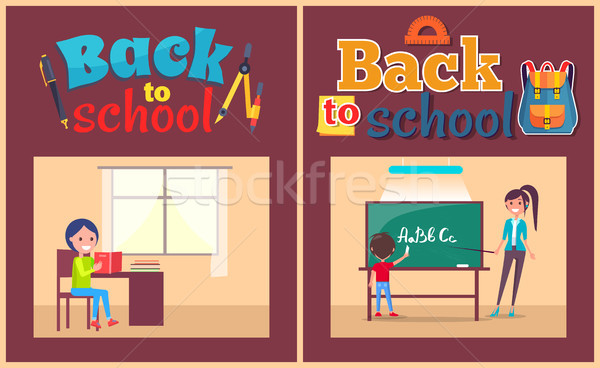 Back to School Poster Pupil and Teacher at Desk Stock photo © robuart