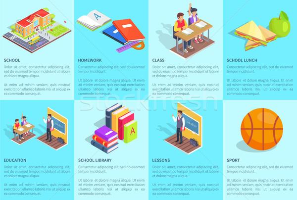 Conjunto pôsteres dedicado estudar escolas isolado Foto stock © robuart