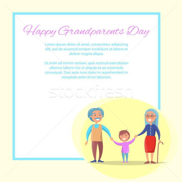 Mutlu dedesi gün torun poster Stok fotoğraf © robuart