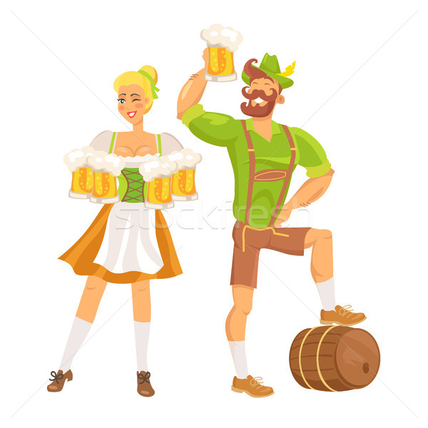 Waitress Traditional Costume Vector Illustration Stock photo © robuart