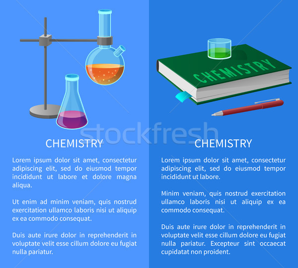 Tankönyv kémia szerszámok izolált illusztráció szöveg Stock fotó © robuart