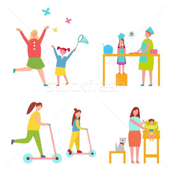 Stock fotó: Szett · ikonok · tevékenységek · dedikált · anya · lánygyermek