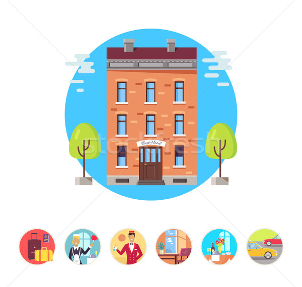 Best Hotel Isolated Illustrations in Circles Set Stock photo © robuart