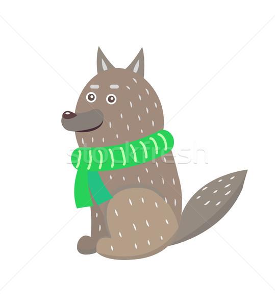 волка шарф зеленый трикотажный Сток-фото © robuart