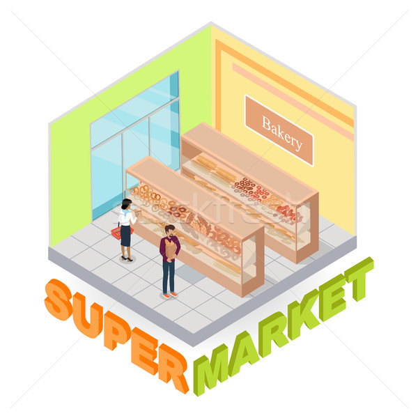 Supermarkt bakkerij afdeling isometrische vector interieur Stockfoto © robuart