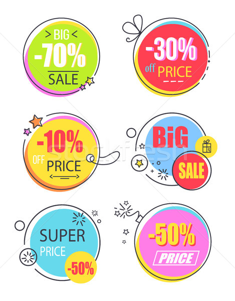 Wspaniały cena redukcja reklama zestaw twórczej Zdjęcia stock © robuart