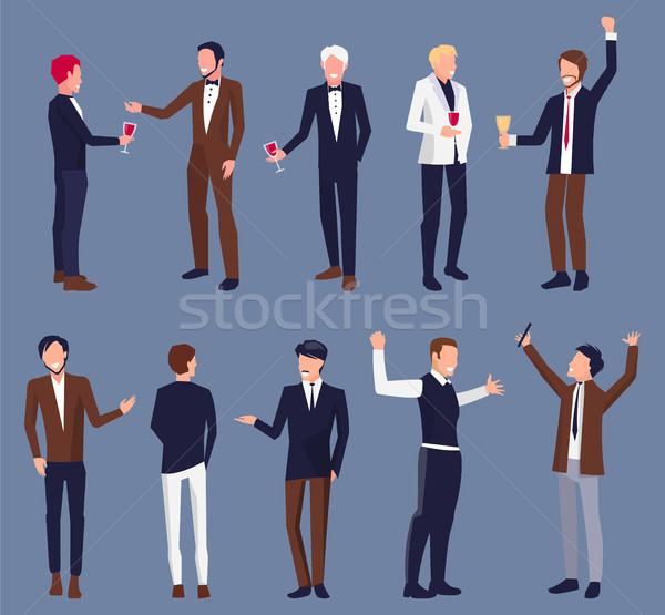 Icons of Men in Suit at Party Vector Illustration Stock photo © robuart