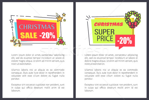 Christmas Super Price Sale 20 Off Advert Labels Stock photo © robuart