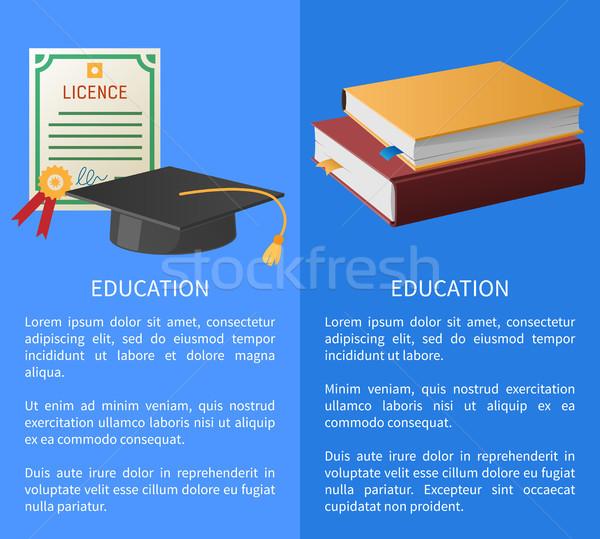 Edukacji książek akademicki hat banery Zdjęcia stock © robuart