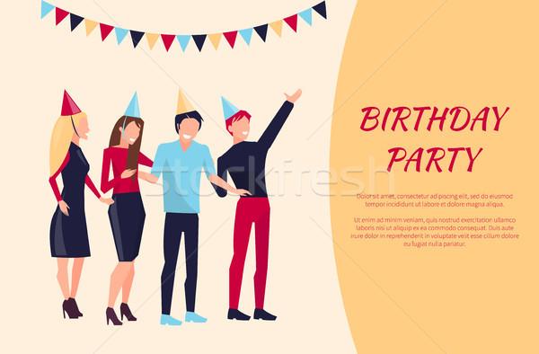 Festa de aniversário celebração pessoas sorridente Foto stock © robuart