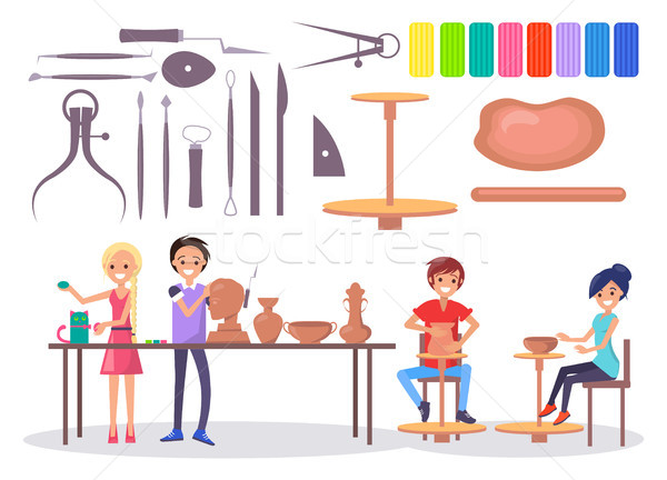 Happy Young Potters and Various Tools Illustration Stock photo © robuart