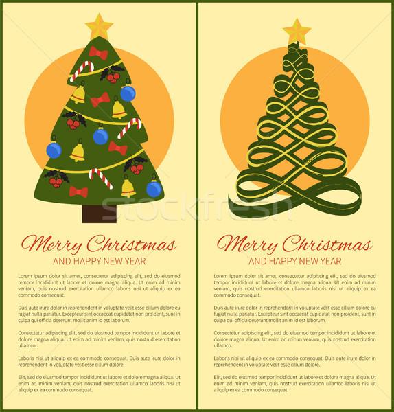 Stok fotoğraf: Neşeli · Noel · happy · new · year · posterler · ağaç · soyut