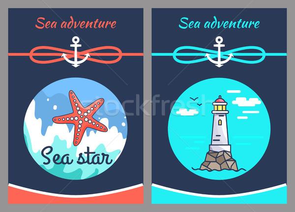 Foto stock: Mar · aventura · estrellas · dos · vector · ilustraciones