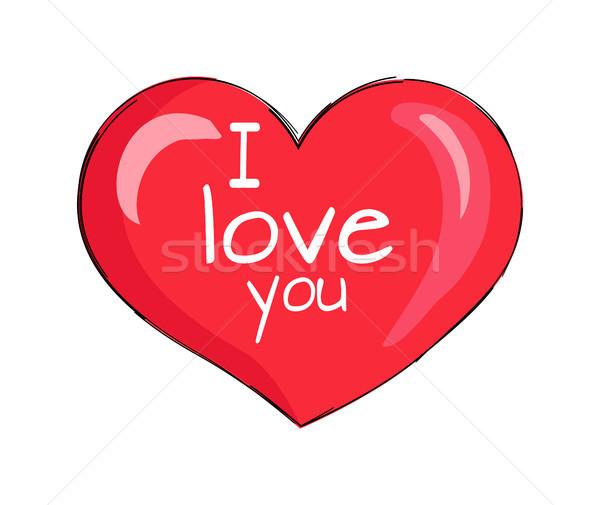 I Love You Inscription on Red Heart Shape Symbol Stock photo © robuart