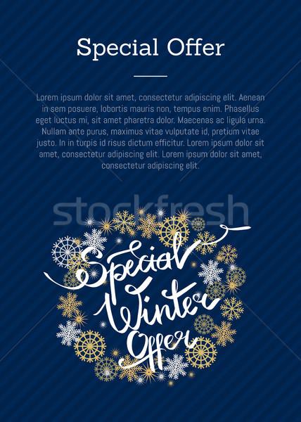 Spéciale hiver proposer cadre flocons de neige affiche Photo stock © robuart