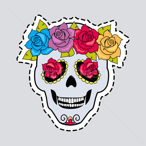 Human Skull and Flower Wreath. Cut it out Stock photo © robuart