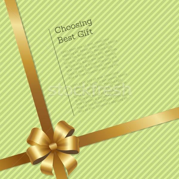 Auswahl besten Geschenk gestreift Karte Gold Stock foto © robuart
