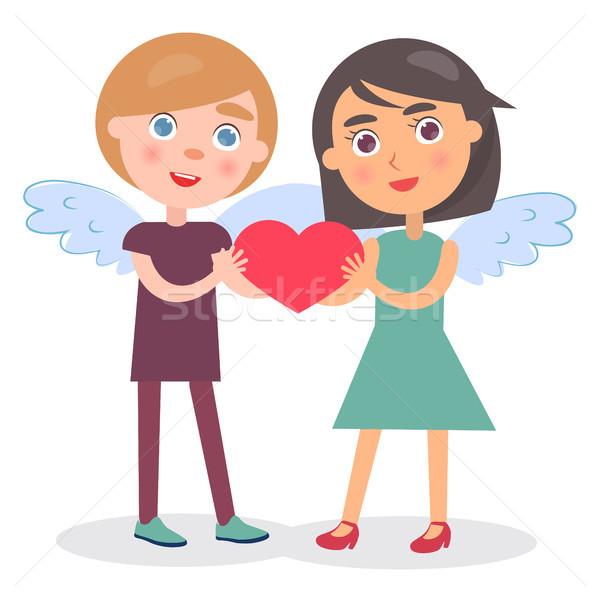 Foto stock: Feliz · casal · manter · coração · mãos · menino