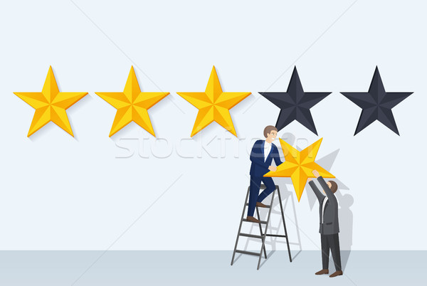 Stock photo: Rating Man and Big Stars, Vector Illustration