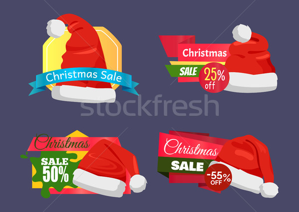 Christmas Super Choice Promo Labels with Santa Hat Stock photo © robuart